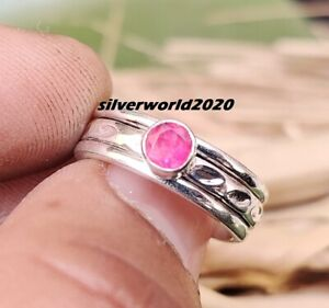 Ruby Band Ring 925 Sterling Silver Plated Ring Handmade Size 5 H-279