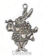 10 Antique Silver Alice In Wonderland Rabbit Charms - Herald Bunny LF NF CF