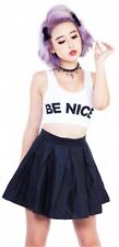 NEW Lip Service Trippin Matte Black Faux Leather Pleated Skater Skirt S Small