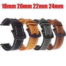 ✅18 | 20 | 22 | 24 mm ECHTLEDER Uhrenarmband Braun Ersatz Lederband Flach Basic