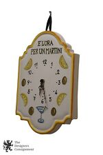 Ceramic Hand Painted Wall Clock Italy Martini Time Cocktail Hour Bar Porcelain