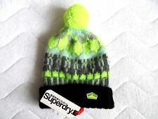 SUPERDRY Wool Black Grey Neon Brushed BOBBLE BEANIE Toque HAT UNISEX Pompom TAG