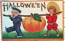 Little Boys & Great Big Pumpkin, HALLOWEEN Post Card 1908, SAILOR BOY