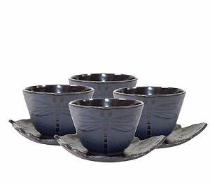 4 Black Leaf Tea Saucer Blue Dragonfly Cast Iron Teacup Hobnail Dot Japanese