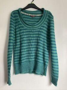 Fat Face Green/blue Mohair/wool Mix Jumper Size 12 Good Condition Long Sleeve