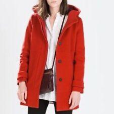 Zara Red Wool Duffle Hooded Coat Size S