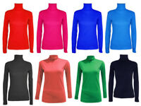 Womens Polo Turtle Neck Plain Top Ladies Long Sleeve Roll Neck Tops Jumper 8-14