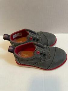 Toms Toddler Boys Tiny Brogue Oxford Slip On Canvas Shoes Gray Size 6  NWOB