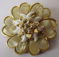 serre foulard passe foulard bijou vintage couleur or fleur nacre relief 584