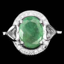 Natural Oval Cut 9x7mm Top Rich Green Emerald W Cz 925 Sterling Silver Ring Sz 6