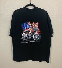 Vintage 90s Wild Breed Eagle Motorcycle USA Flag Harley Pocket Shirt L Faded VTG