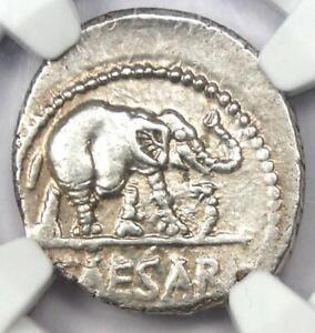 Julius Caesar AR Denarius Silver Elephant Coin 49 BC - Certified NGC Choice XF