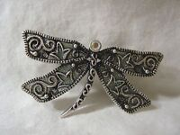 Large DRAGONFLY Rhinestone FASHION PIN BROOCH Silver Tone Metal Brand NEW