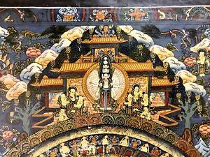 Vintage Tibetan Buddhist Thangka The Wheel of Life (Bhavachakra ) 16 X 22 Inches