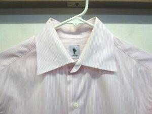 EUC Lorenzini Pink White Striped Cotton Dress Shirt Made in Italy Size 15/38