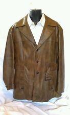 Rare Vintage Arsco 1970s  Brown Leather Long Coat Jacket Mens