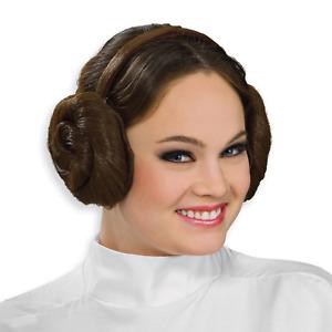 Princess Leia Headband Wig Star Wars Movie Carrie Fisher Hair Buns Adult Womens