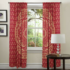 Indian Golden Mandala Window Cotton Curtain 2 PC Balcony Door Curtains Valances