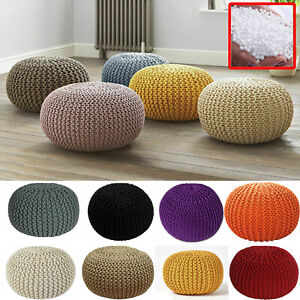 Large 50cm Round Cotton Knitted Pouffe Ball Foot Stool Braided Cushion Seat Rest