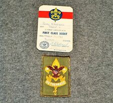 BSA INSIGNIA…FIRST CLASS RANK…GAUZE BACK…WITH CERTIFICATE DATED 1961