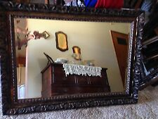 Large Rectangle Beveled Wall Mirror W/ Ornate Wood/Resin Frame 43X31 1/2""