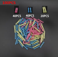 100x Assorted 22-10 Heat Shrink Butt Electrical Wire Crimp Terminal Connectors
