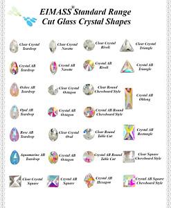 EIMASS® Sew on Glue on,Cut Glass Flat Back Crystals, Gems, Fancy Diamante, 3533