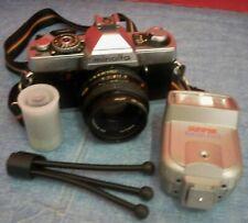 Vintage Minolta XG1 35 mm Film Camera With Flash Attachment Small Tripod Film