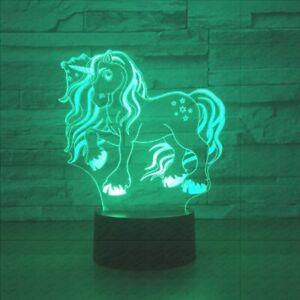 Unicorn Acrylic 7 Colors Desk Lamp 3D USB Novelty Child Gift Led Night Light