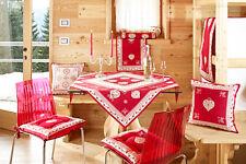 TOVAGLIA 140x220cm Country GALTEX Grenoble Alpi chic landhaus ROSSO BEIGE CUORI