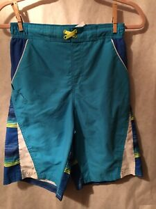 Wonder Nation Boys Swim Trunks Shorts Aqua Lime Royal Blue Size XL (14-16)