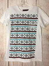 Graphic Skateboard Tee Shirt Tony Hawk MED Aztec Southwest Navajo White