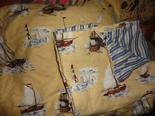 SCALAMAMDRE BREEZY POINT SAILBOAT NAUTICAL LIGHTHOUSE YELLOW (2PC) TWIN DUVET