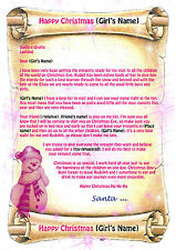 Girls Personalised Letter from Father Christmas Santa + North Pole Envelope V1