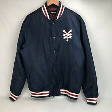 Authentic vintage mens Adidas navy wool leather sleeve Yankee varsity jacket