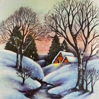Vintage Mid Century Christmas Greeting Card Snowy Morning By Stream Pink Sky
