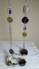 JS SIGNED SILVERTONE CHAIN LINK NECKLACE W/BLK FACETED GLASS BEADS/BOREALIS BEAD