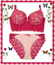 36C Pink Lace Longline PushUp UW Bra Bikini Pantie 2pc SET New York Elegance $52