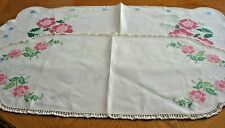 VNTG~LOT OF 2 EMBROIDERED DRESSER SCARF/TABLE RUNNER~PINK FLOWERS~GD/VGC~LOT #W