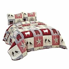 Homestead Patchwork Bedding Quilt Set with Country Icons - Set of 3