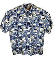Jos A Bank Mens 2XL Blue White 100% Silk Hawaiian Houses Short Sleeve Shirt