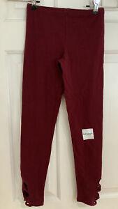 NWT Girls Old Navy Maroon Leggings Pants Sz M  ( 8 )  Full Length Lattice Hem