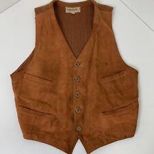 Vintage Bantamac Sheds Showers Brown Suede Leather Vest Knit Back Size 44 60s