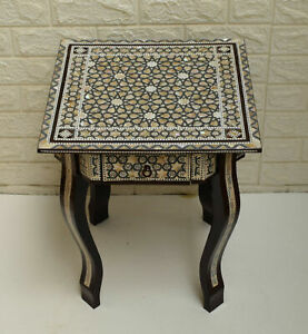 """16"""" Square Egyptian Mother of Pearl Inlaid BedSide Coffee Table with 2 Drawers"""
