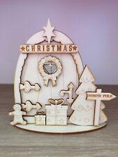 1 x 3D kit (n2) CHRISTMAS FAIRY / ELF / PIXIE DOOR WOODEN EMBELLISHMENT CRAFT