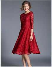 Vintage Floral Lace Dress Women 3/4 Sleeve O Neck A Line Work Casual Party Dress