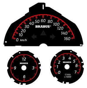 Smart 451 Brabus Tachometer bis zu 160 km/h rote Skala, Drehzahlmesser und Uhr