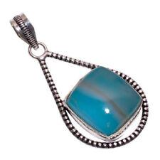 Collane e pendagli di lusso con gemme blu di pietra principale agata