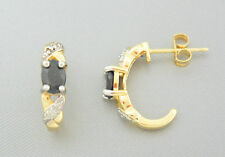 Studs Sapphire Diamond Gold Plated & Rhodium-Plated 925 Sterling Silver