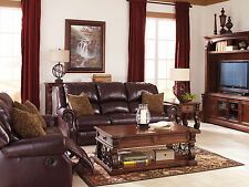 OVIEDO Traditional Living Room Burgundy Real Leather Reclining Sofa Couch Set